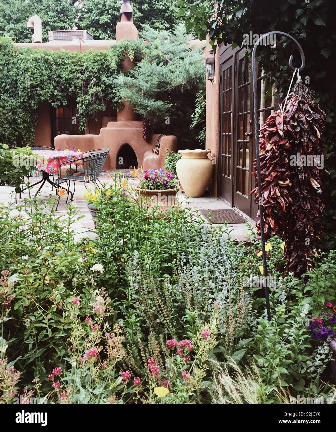 Courtyard Garden In Santa Fe New Mexico Stock Photo Alamy
