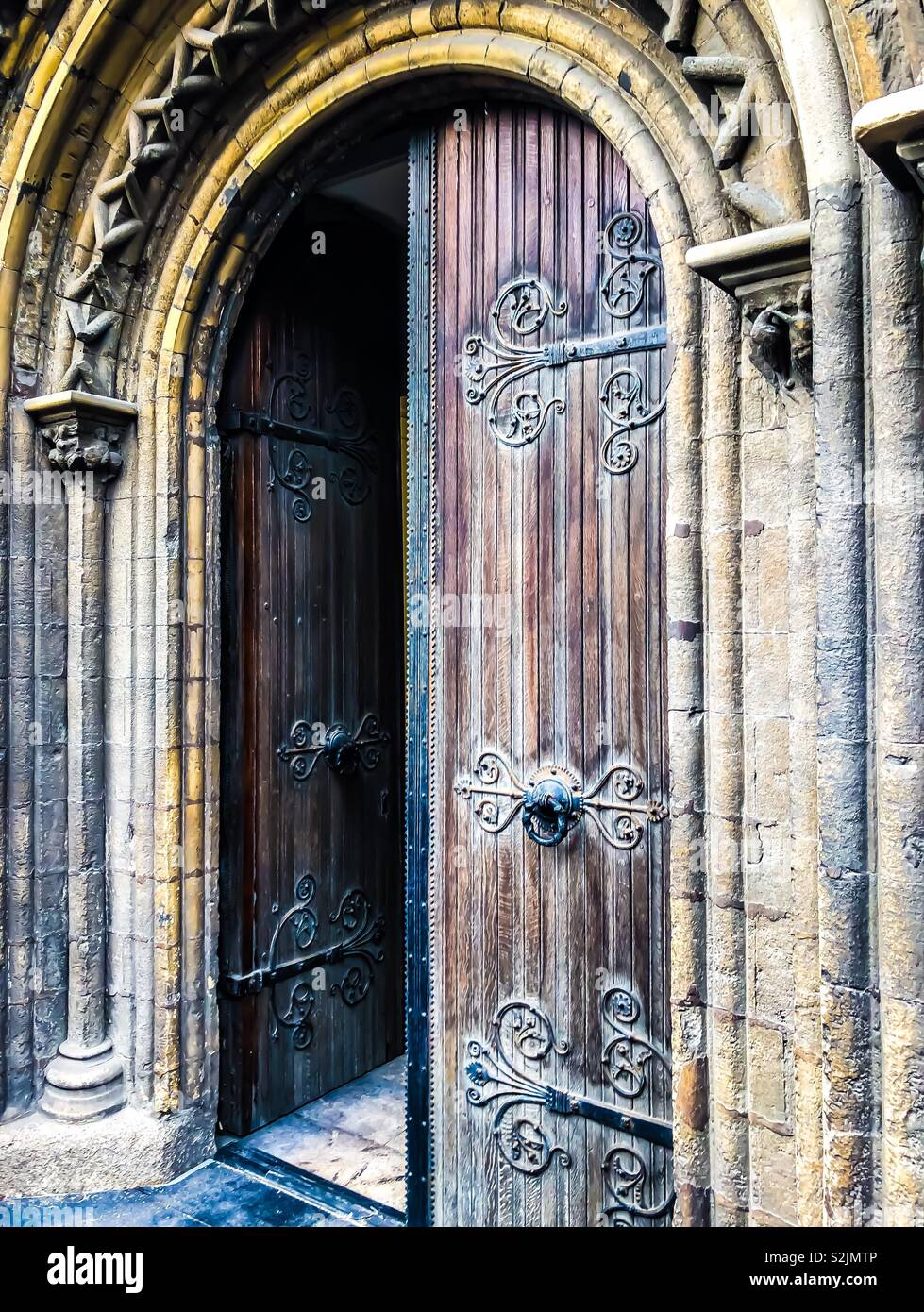Old weathered church door. - Stock Image