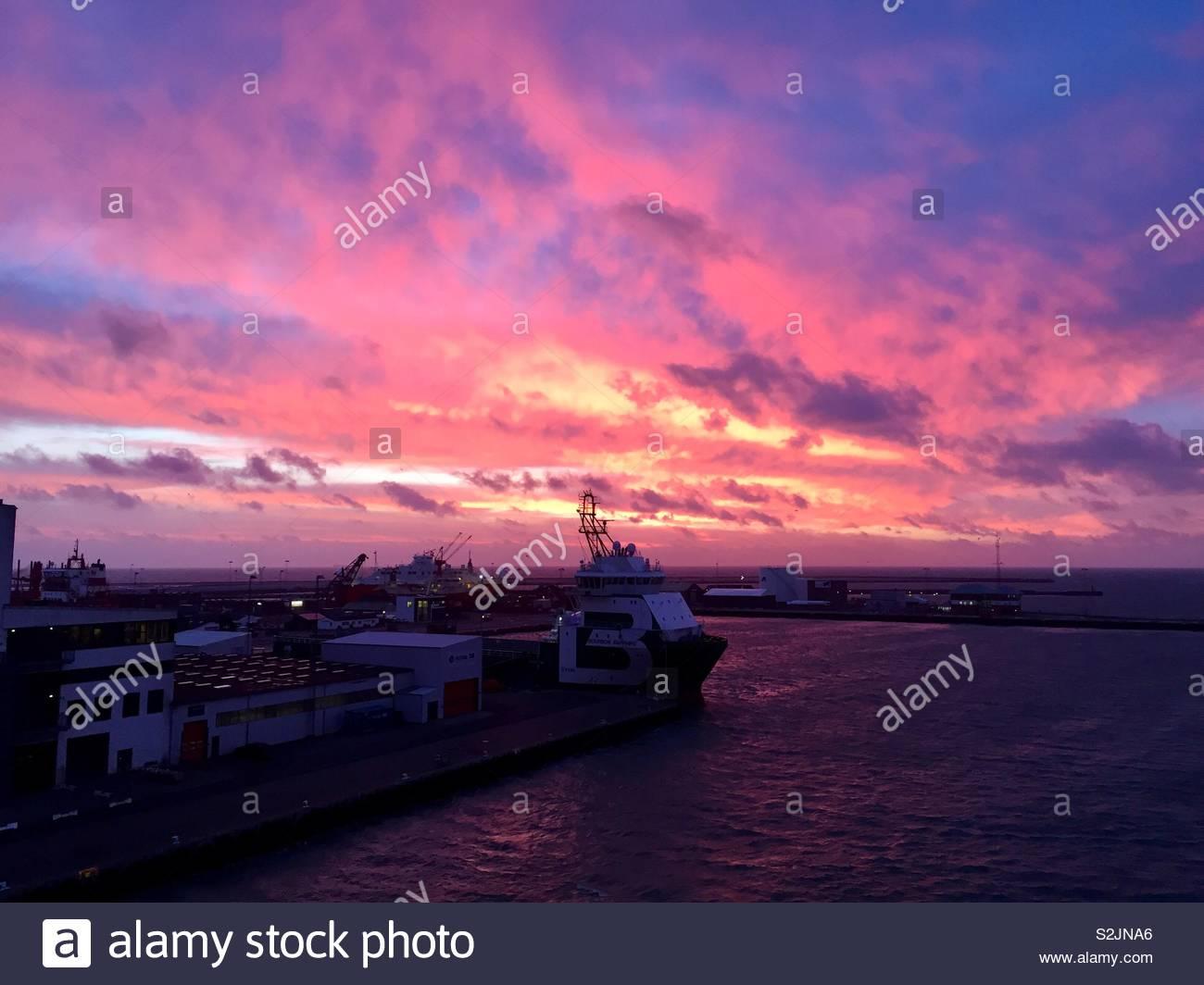 Dawn across the Port of Friedrikshaven - Stock Image