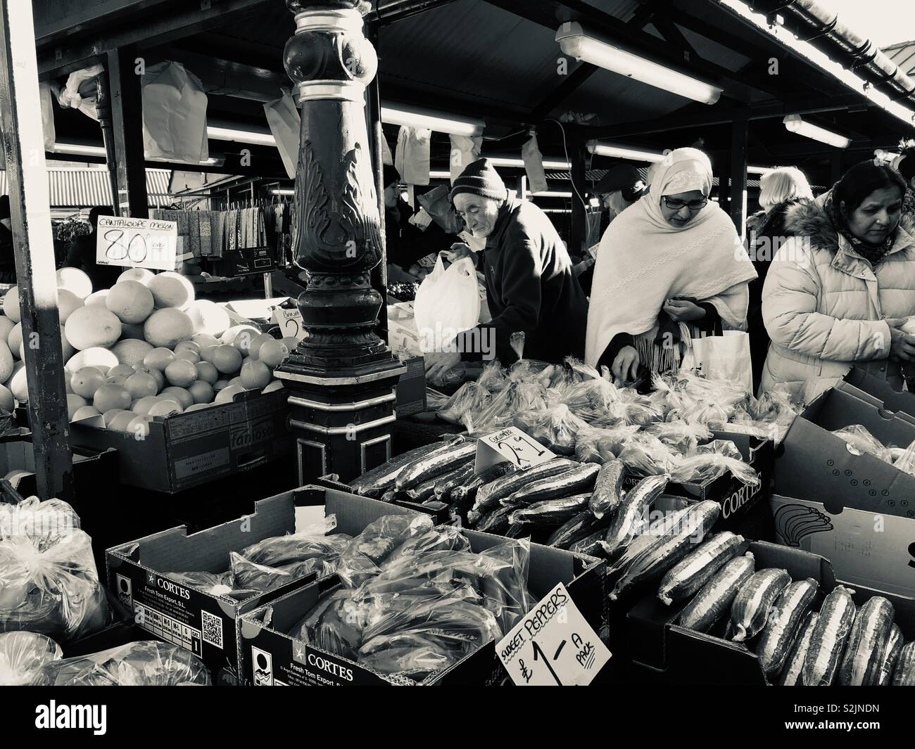Fruit and vegetable stall in Dewsbury market, Yorkshire - Stock Image