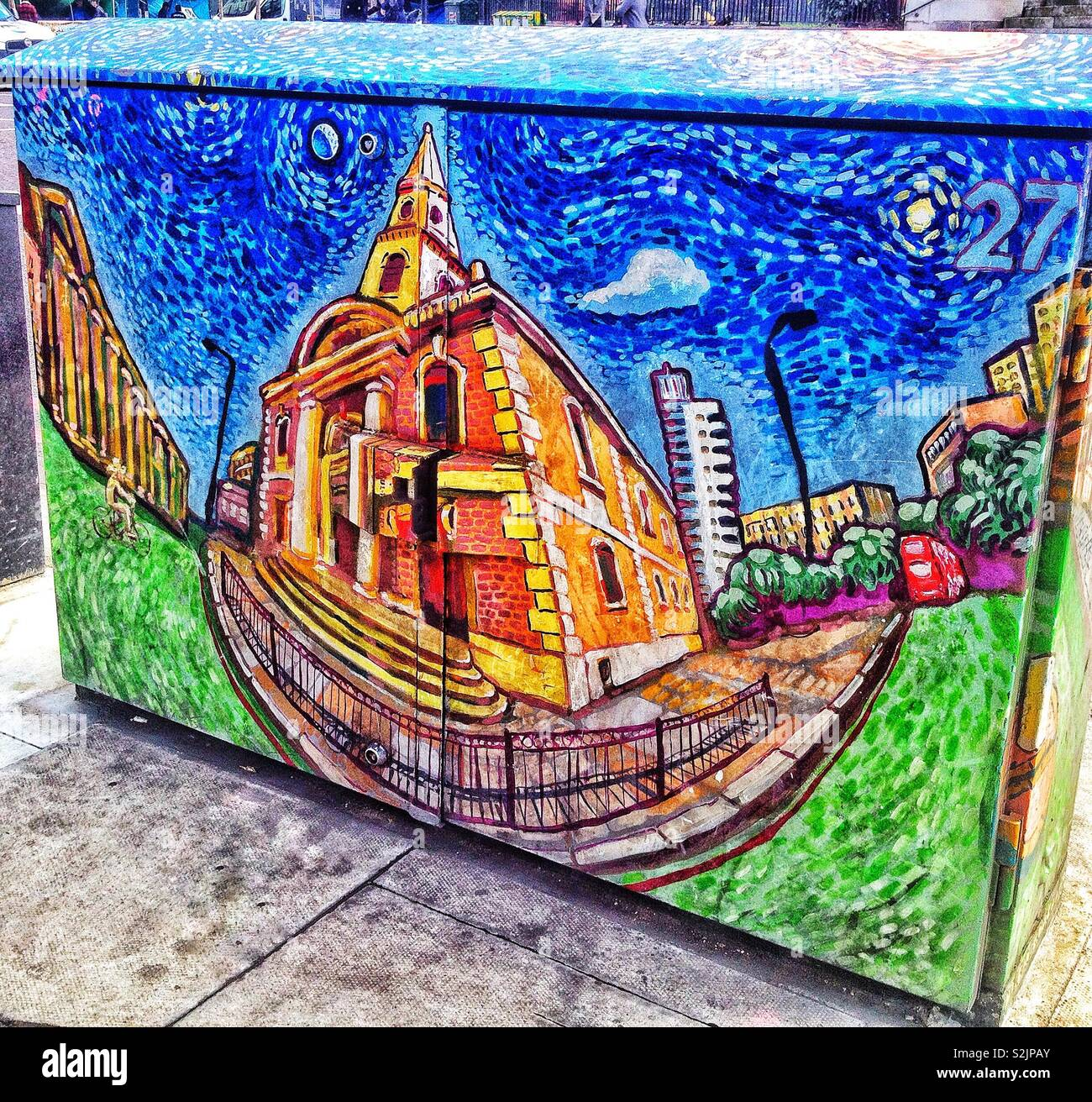 A close up of a street electricity/cable junction box painted with a stylised image of the 18th century St George the Martyr church, in London, England, UK. - Stock Image