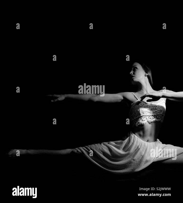 Black and white lyrical dancer Stock Photo