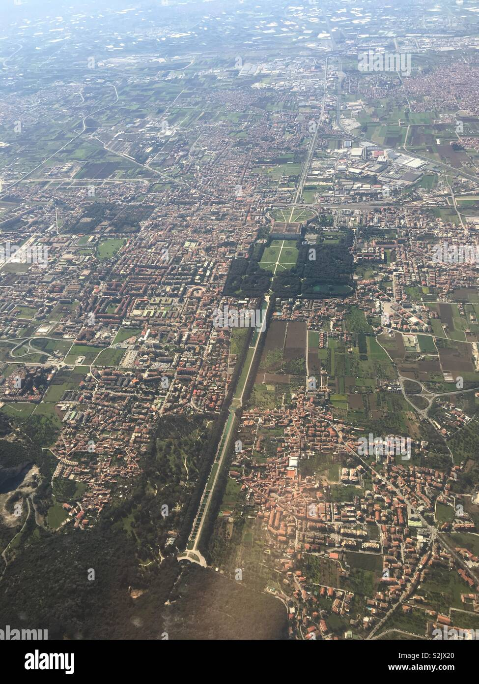 View from aeroplane window on approaching Naples . - Stock Image