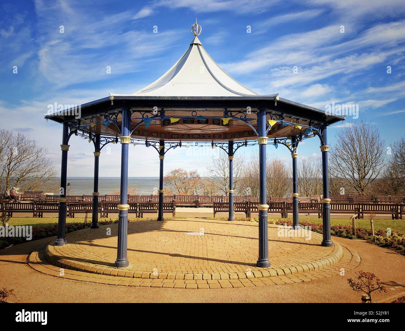 The bandstand, Crescent Gardens, Filey, UK - Stock Image