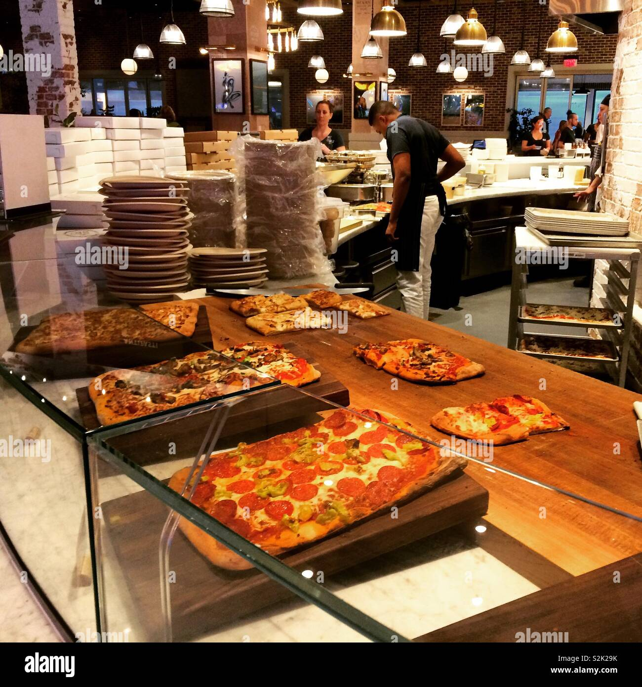 Pizza, Cal Mare, MGM Springfield, Springfield, Massachusetts, United States - Stock Image