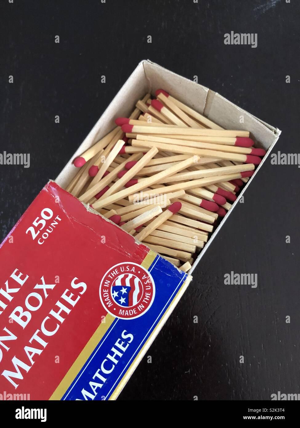 Box of match sticks - Stock Image