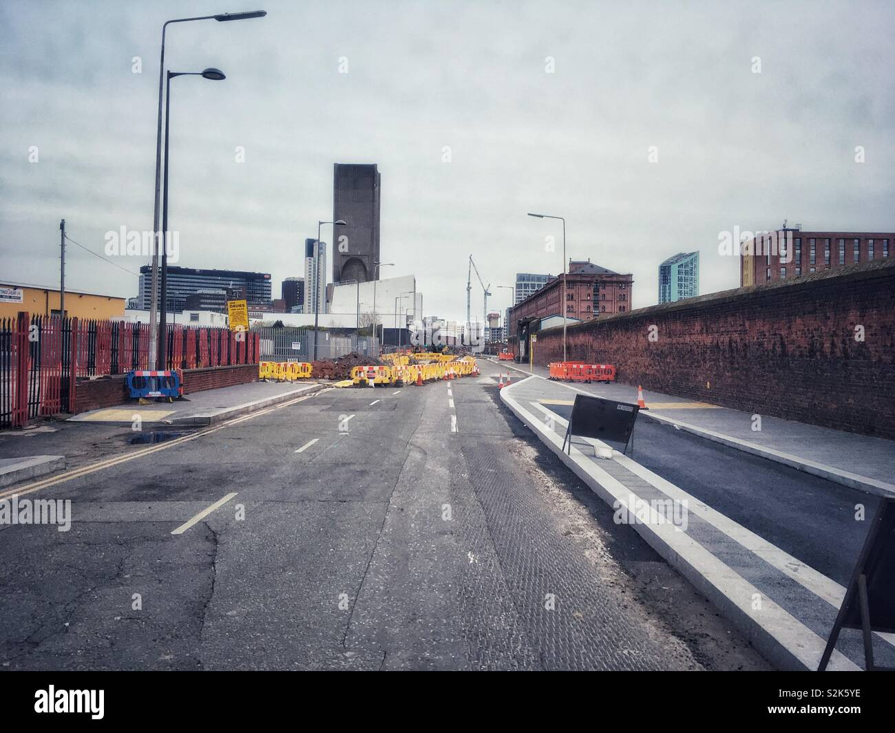 Waterloo rd liverpool during road works deserted - Stock Image