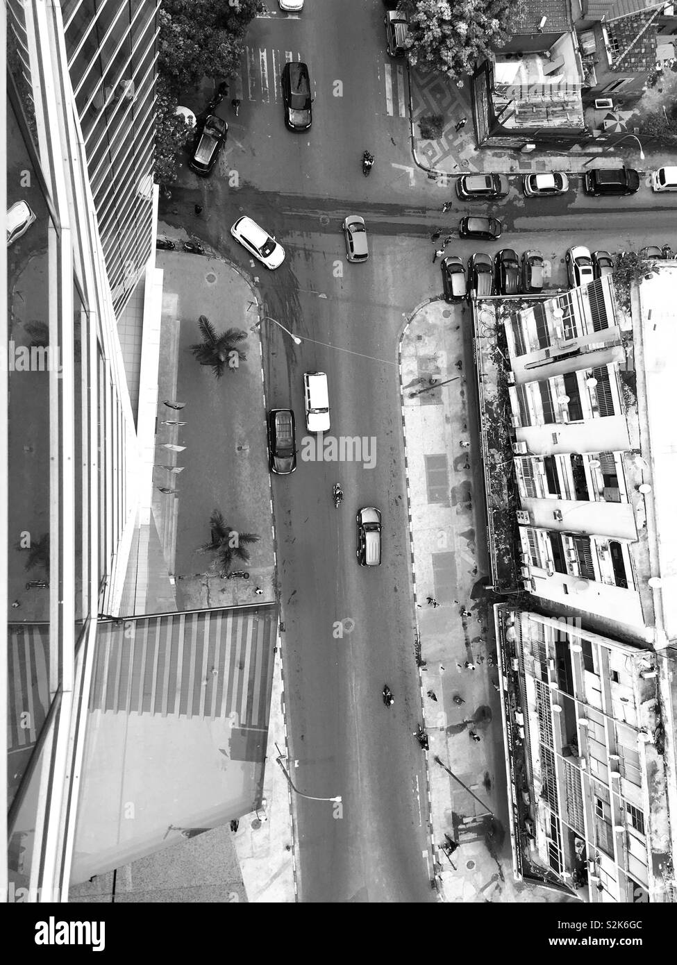 Beautiful aerial view. Luanda , Angola downtown in black and white Stock Photo