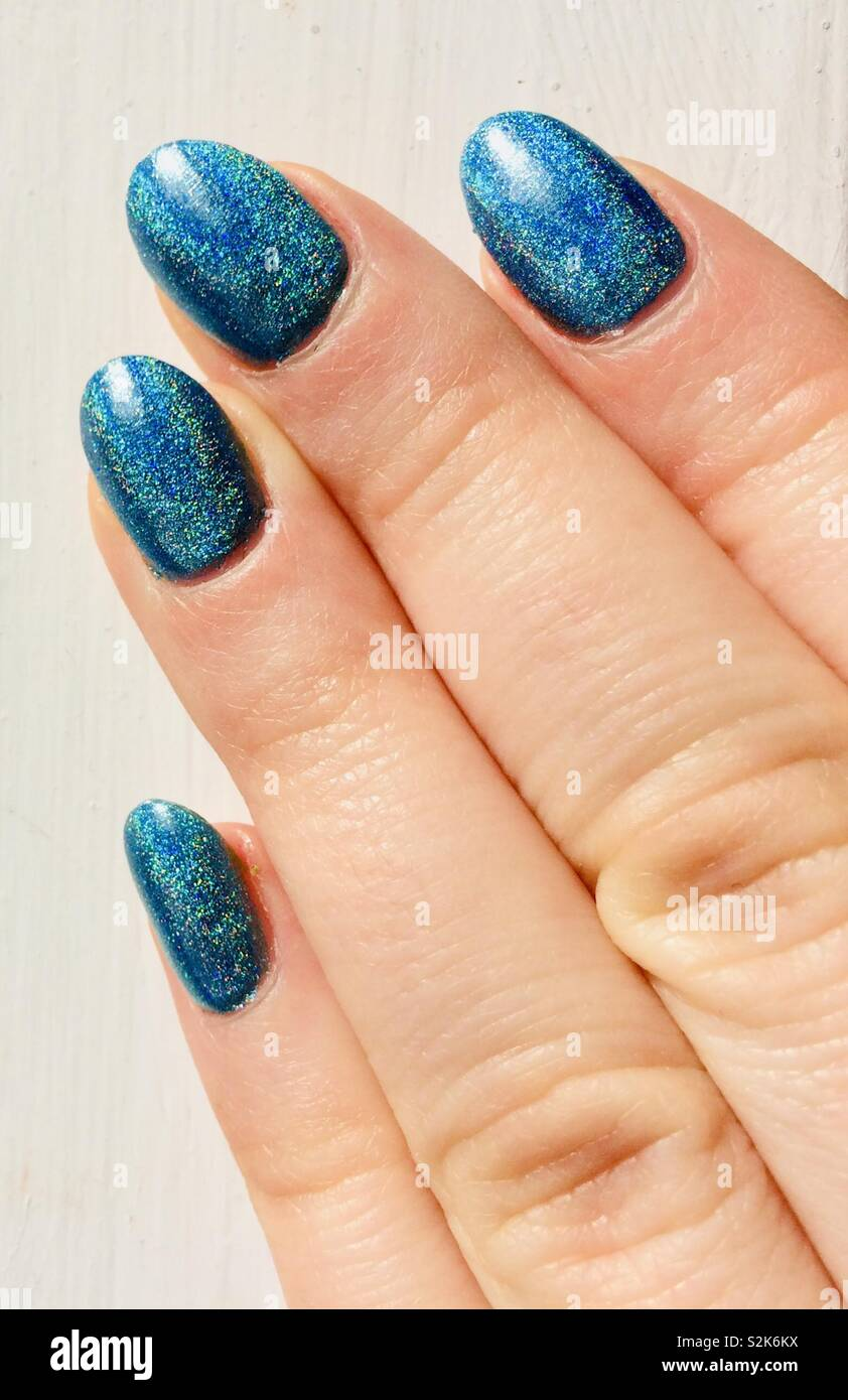 Holographic nails - Stock Image