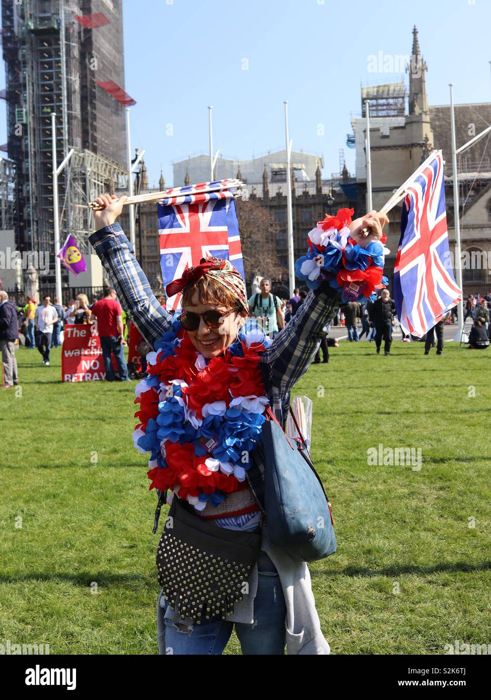 Pro-Brexit demonstrator at Parliament Square, Westminster. MPs debate the latest proposal of the Withdrawal Agreement in the Commons. Stock Photo