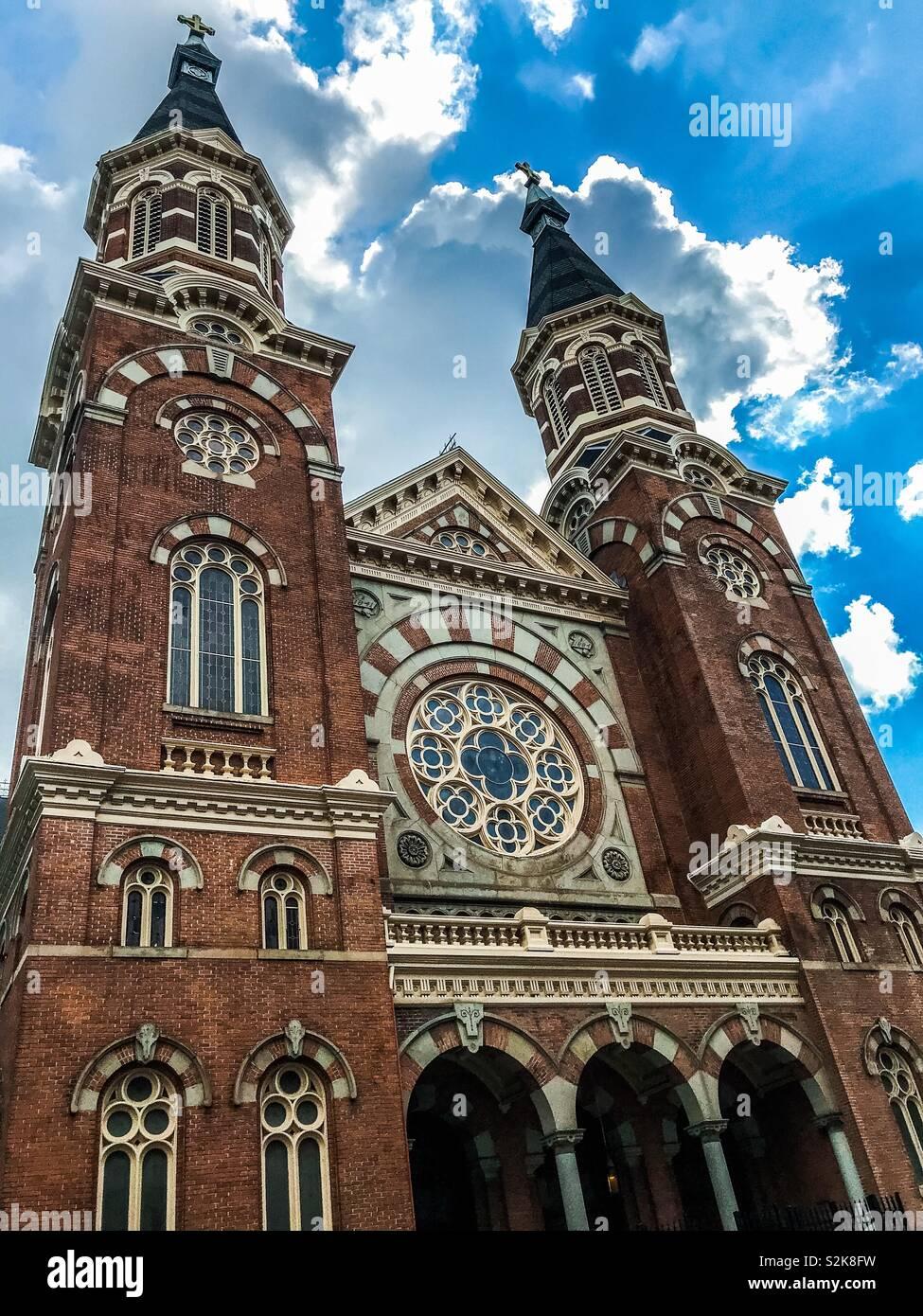 Facade of St. Mary's Catholic Church, 1884-1885, in Greektown, Detroit, Michigan, USA. Romanesque Revival; Neo-Romanesque. Photo Credit: Ann M. Nicgorski, 2018. - Stock Image