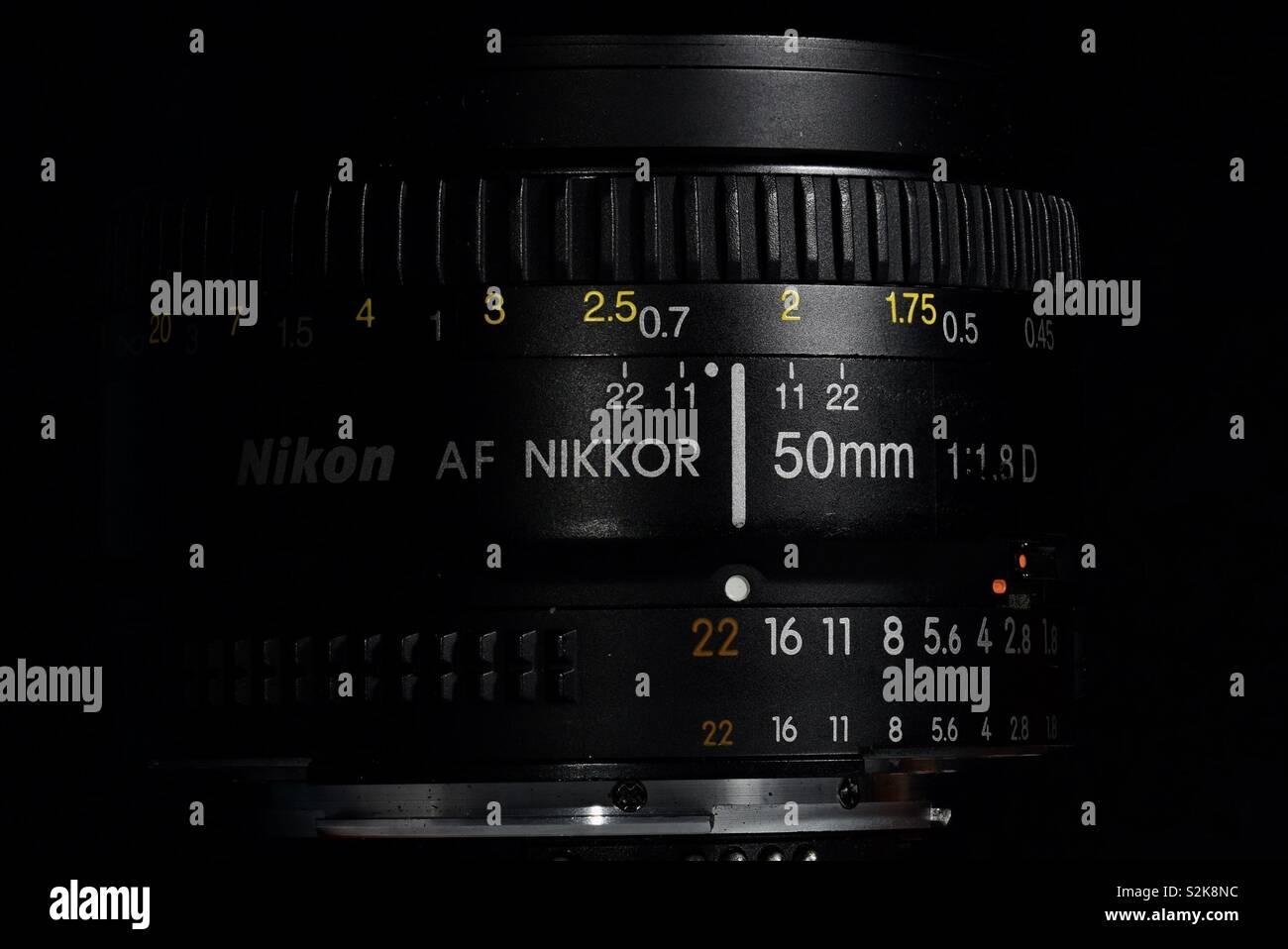 Nikkor 50mm Nikon lens - Stock Image