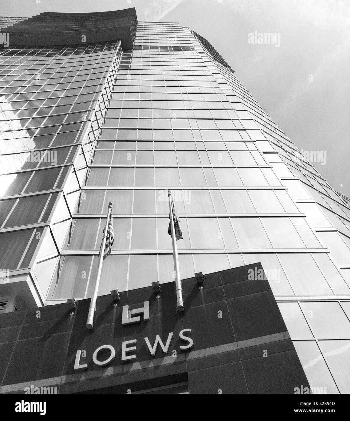 A black and white image of the Loews Atlanta Hotel, Atlanta, Georgia, United States - Stock Image