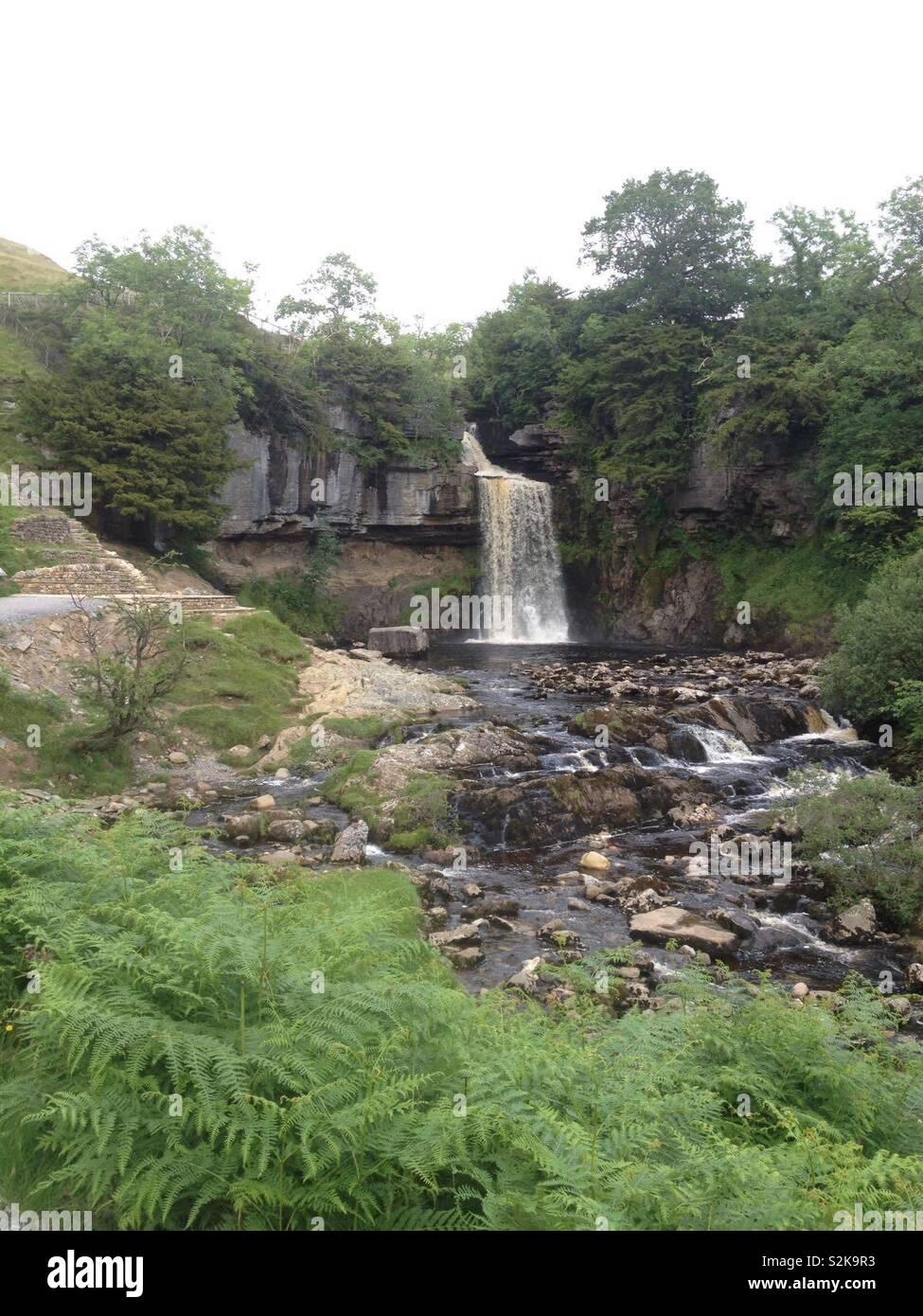 Wideshot UK Yorkshire waterfall - Stock Image
