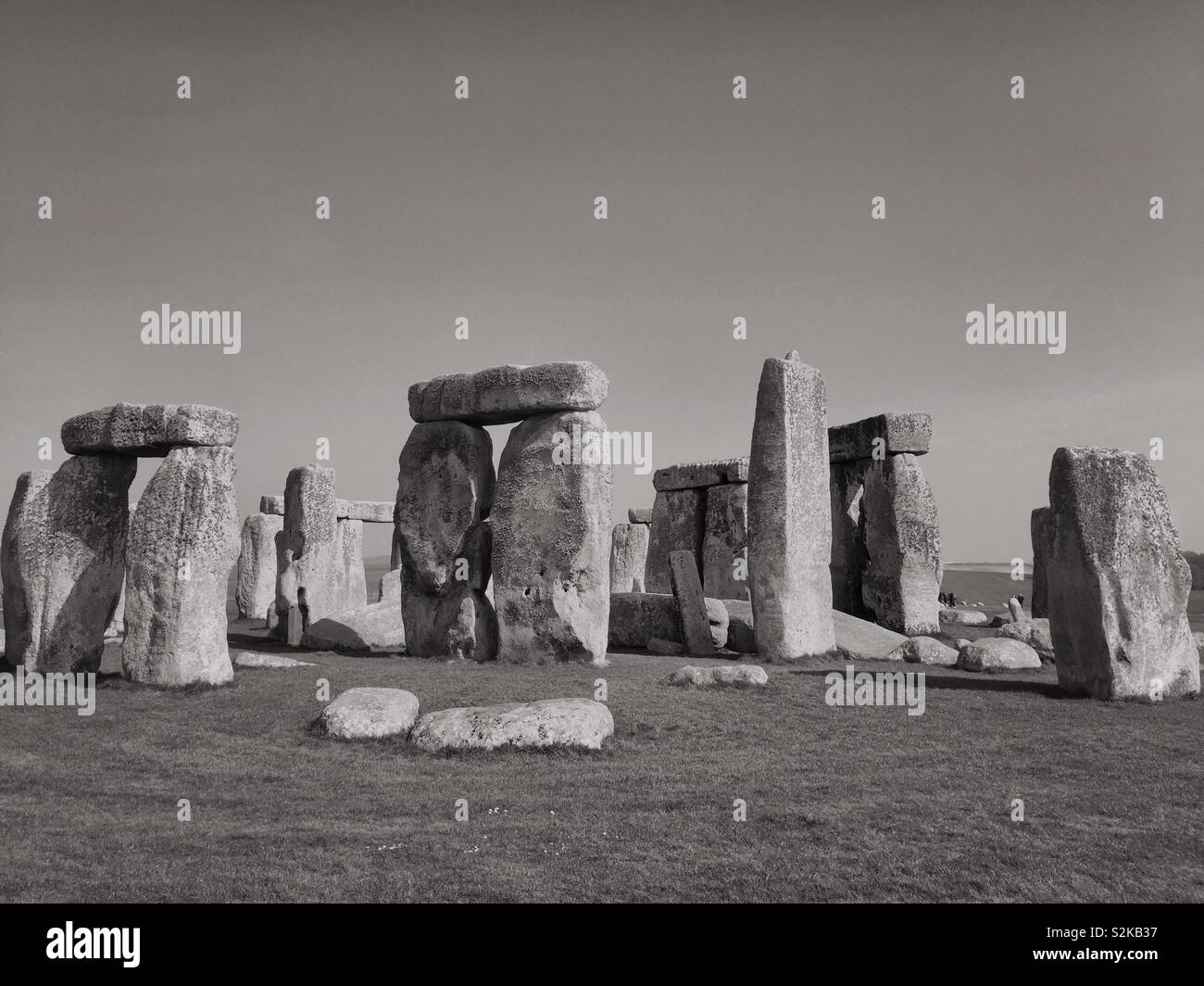 Black and white photo of Stonehenge.  Vintage photograph of English Heritage landmark and visitor tourist attraction monument in the UK - Stock Image