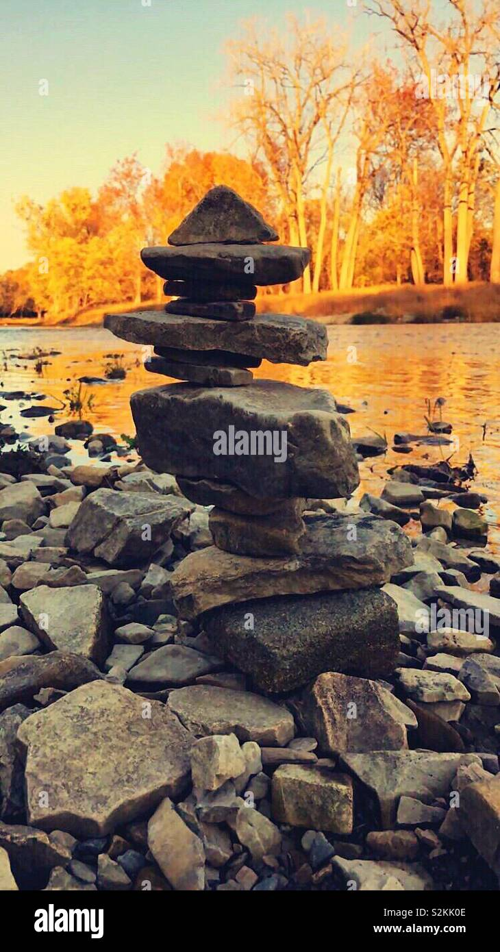 If you've never tried rock balancing, I highly recommend it. - Stock Image