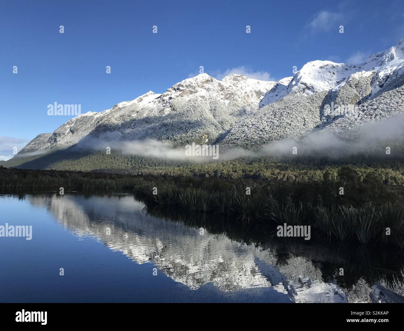 Reflecting Lake in New Zealand - Stock Image