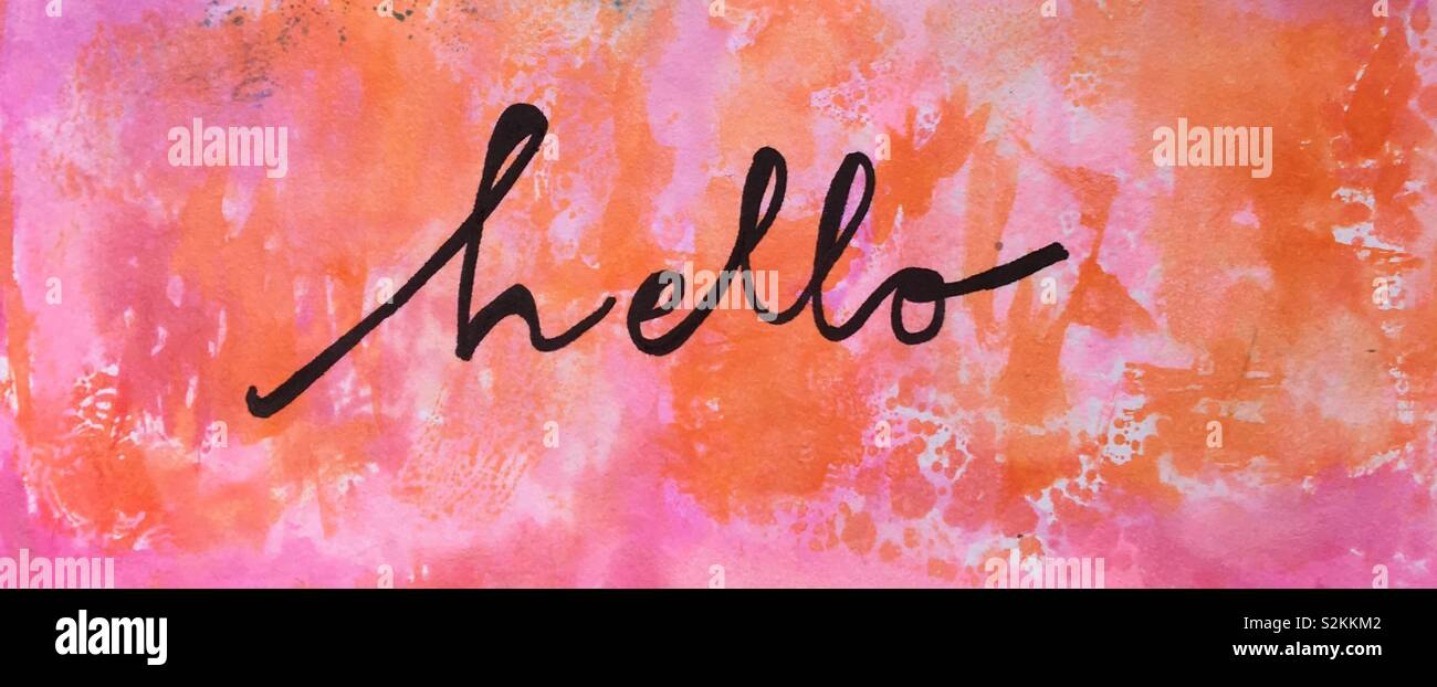 Water colour wash with hand written sentiment hello. - Stock Image