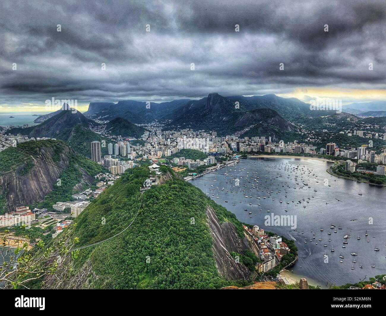Cloudy skies over Rio de Janeiro, Brazil. - Stock Image