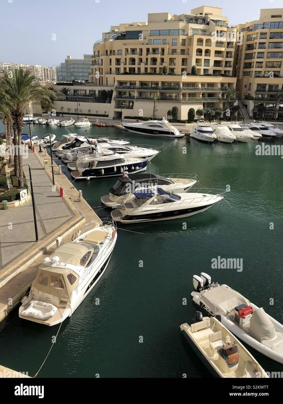 High end luxury lifestyle living marina yachts apartments Malta Stock Photo