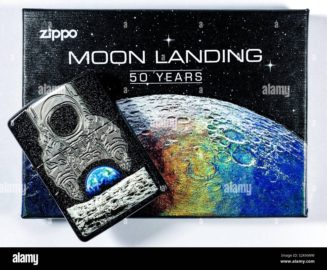 Zippo 50th anniversary moon landing limited edition lighter. - Stock Image