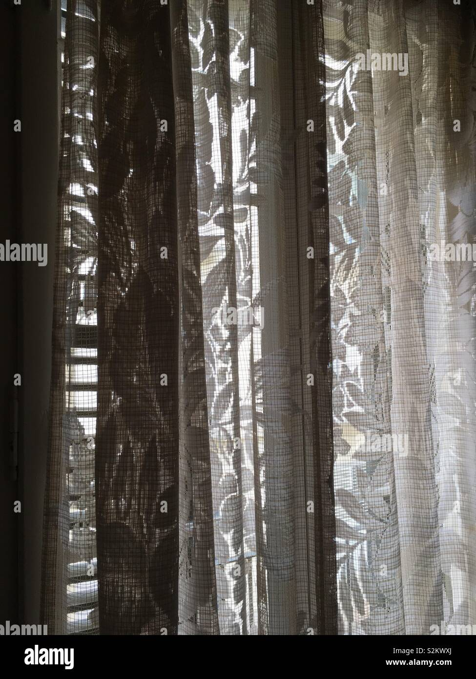 Light through net curtains and wooden slats - Stock Image