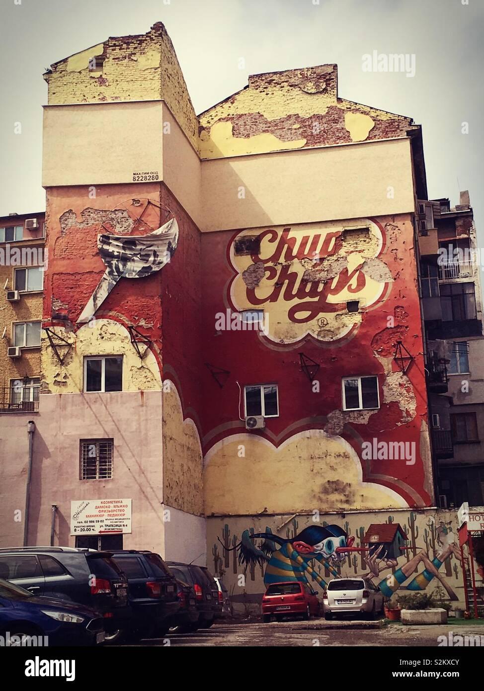 Commercial graffiti in Sofia Stock Photo