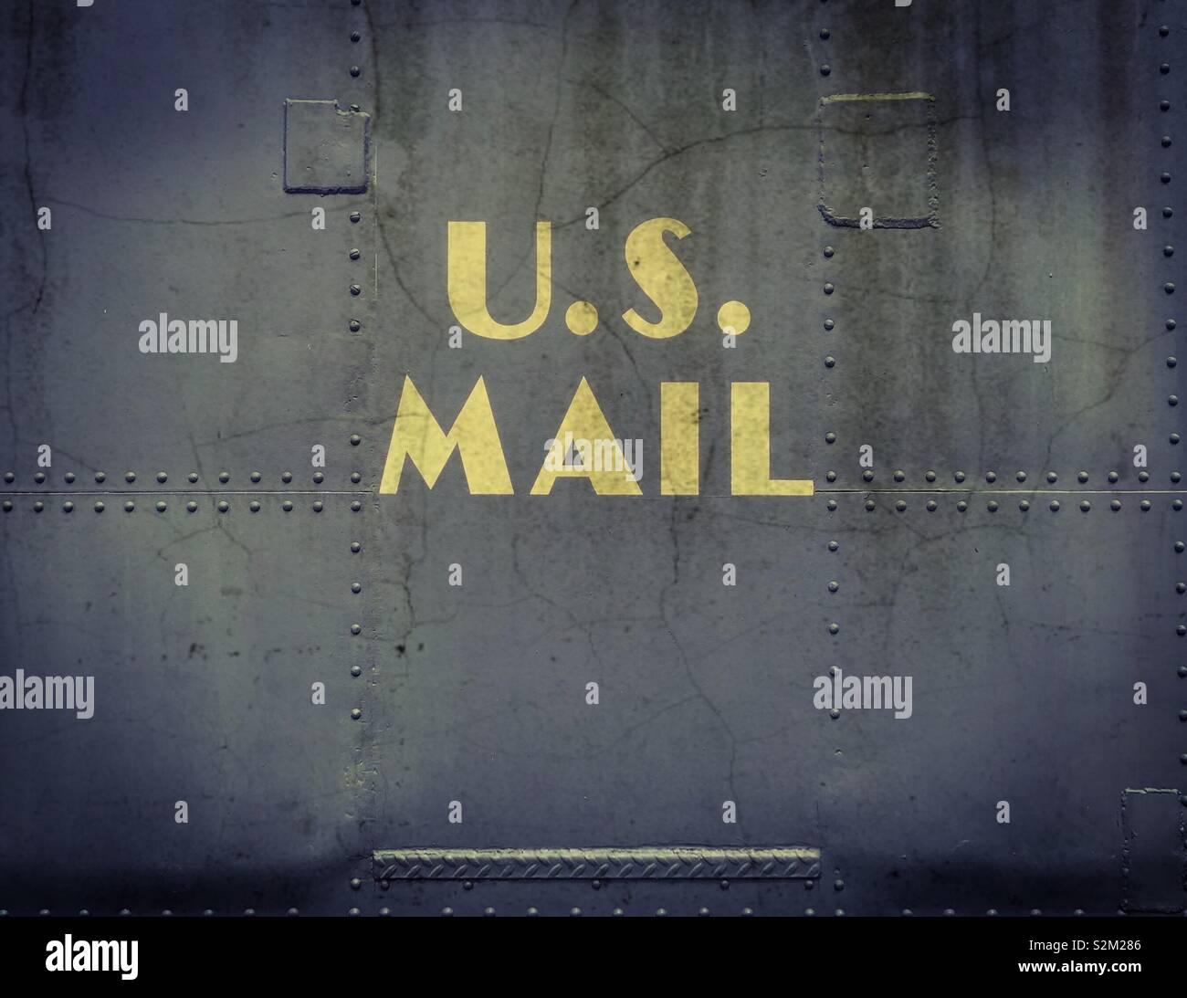 Old U.S. Mail Train Car - Stock Image