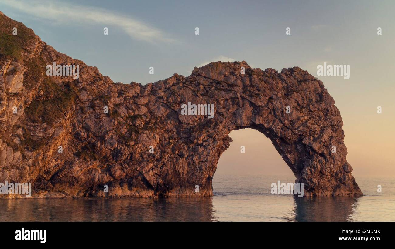 Durdle Door at Sunset Stock Photo