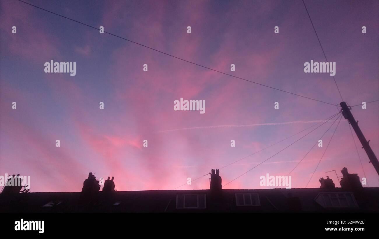 Magical sky above Leeds - Stock Image