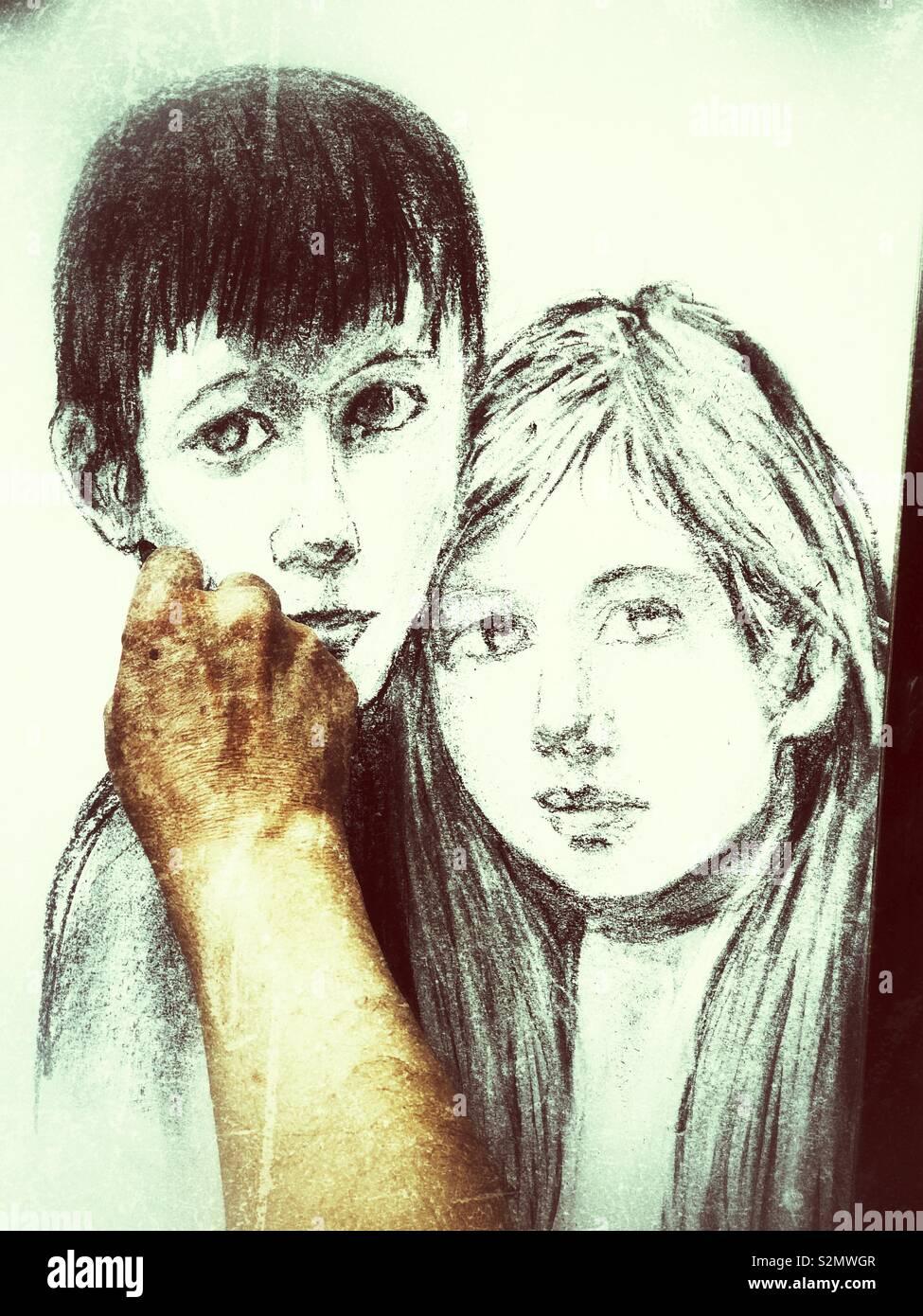 Montmartre artist sketching a boy and girl portrait paris france