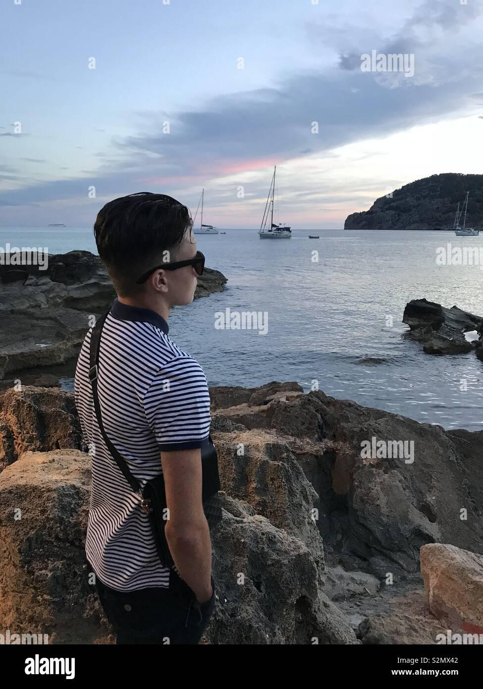 My son in camp de mar - Stock Image
