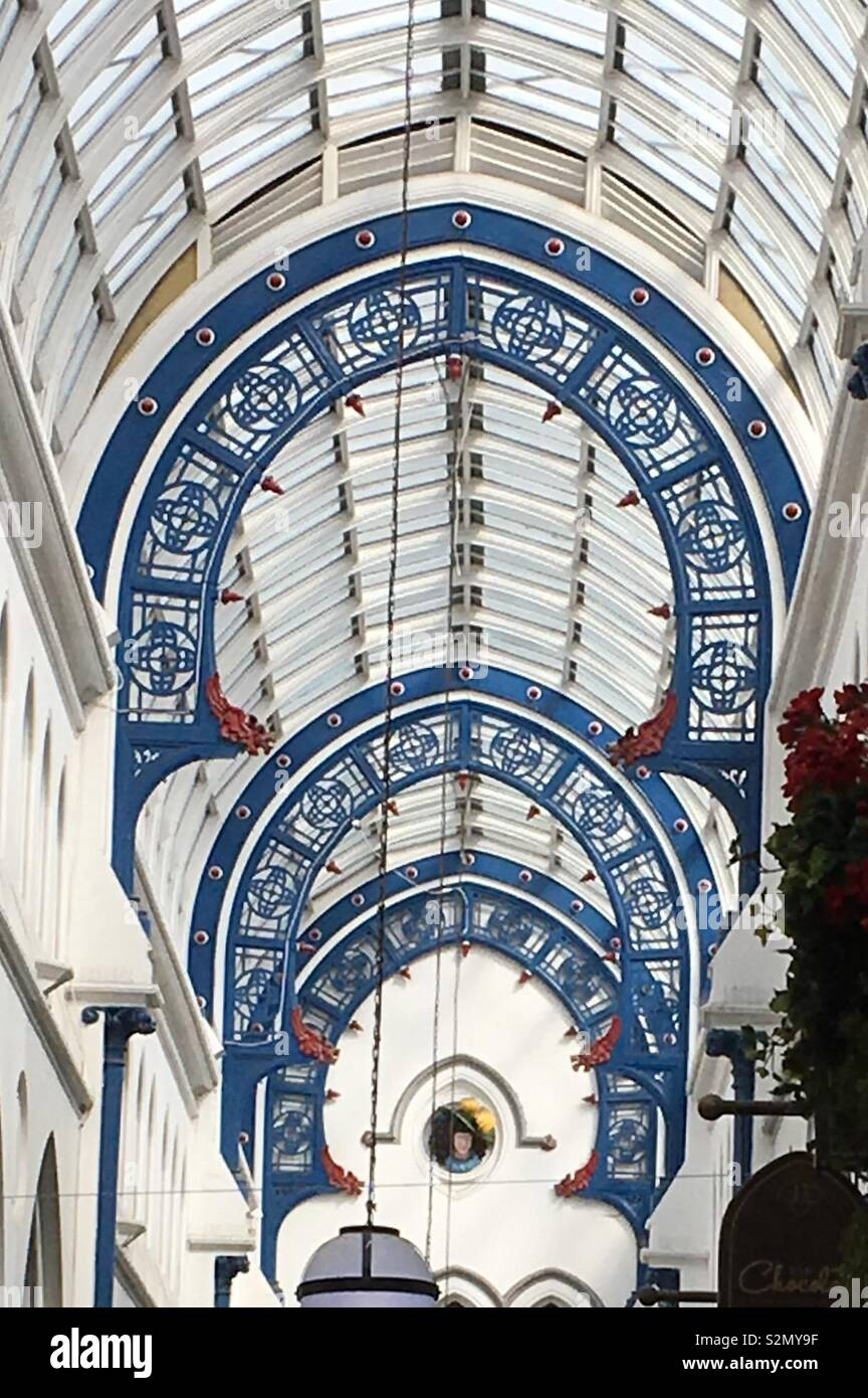 Decorative roof of Thornton's 1878 Victorian city centre shopping arcade in Leeds, West Yorkshire, England. - Stock Image