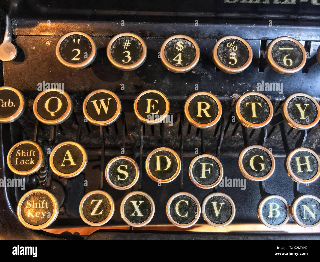 Full frame closeup of an antique typewriter keys spelling QWERTY. - Stock Image