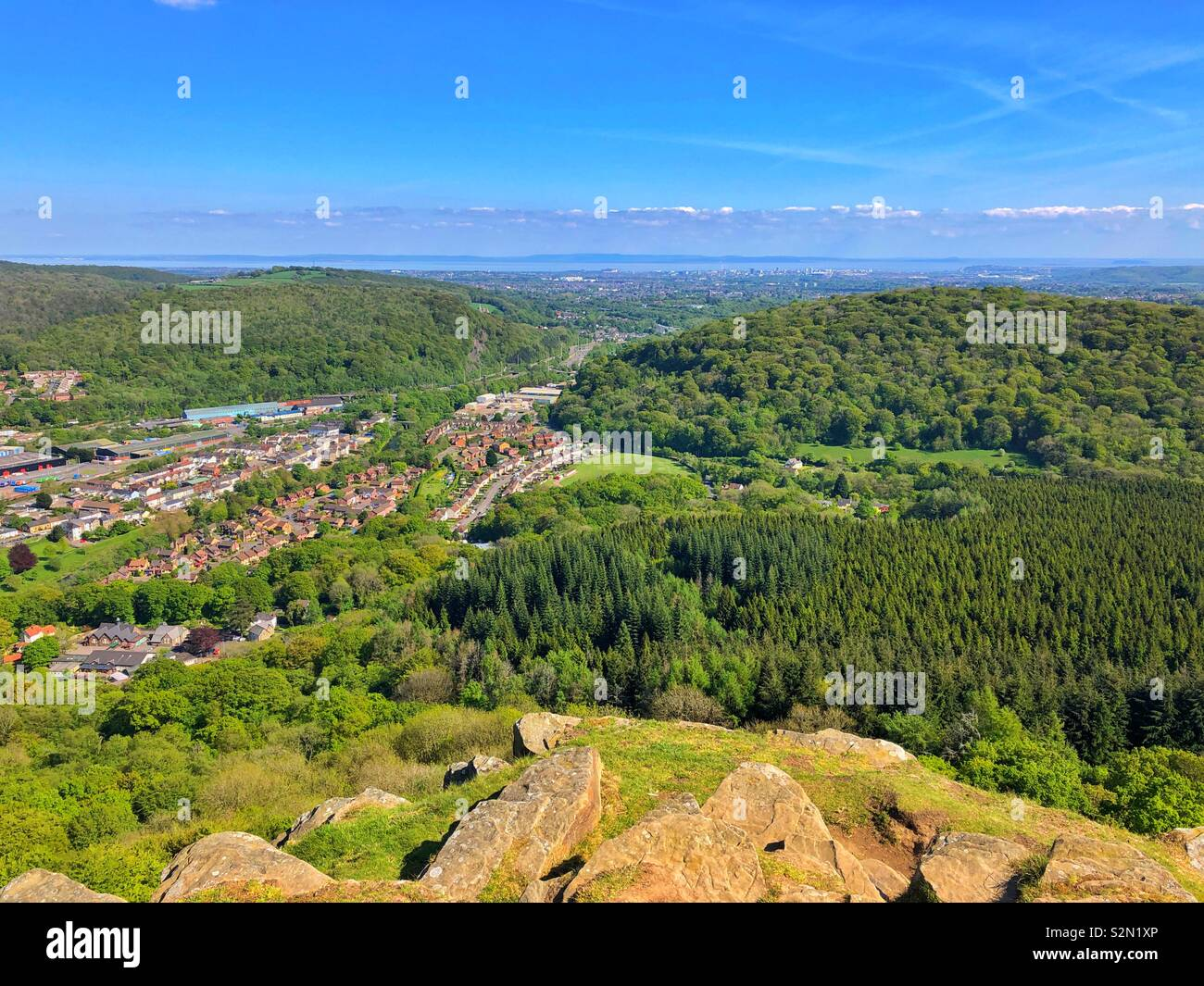 View from Garth mountain across Cardiff towards the Bristol Channel, May. - Stock Image