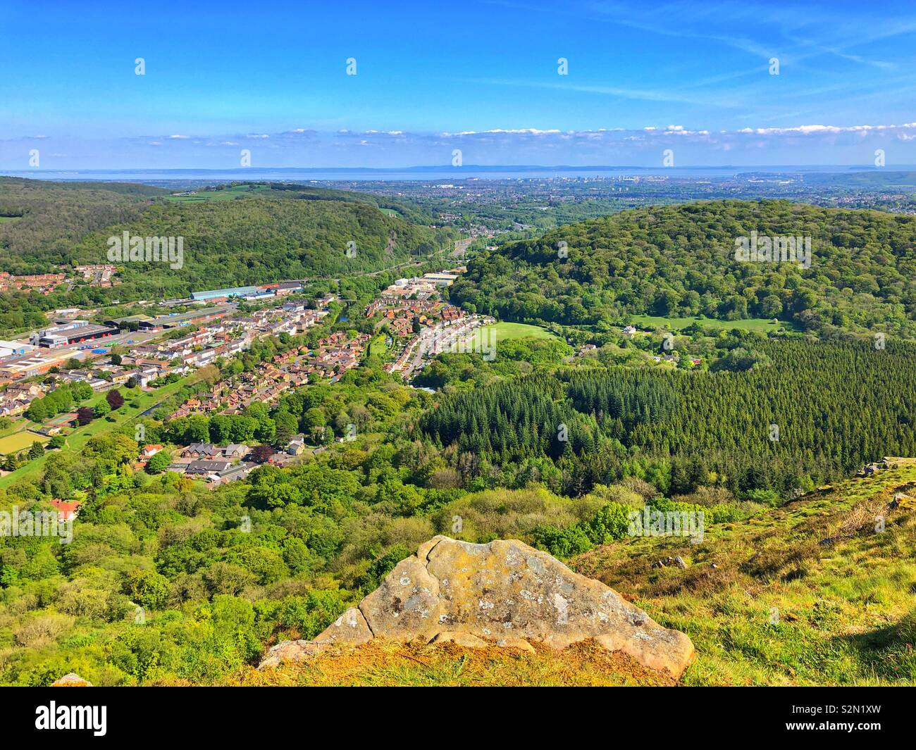 View from the Garth mountain across countryside and Cardiff towards the Bristol Channel, May. - Stock Image