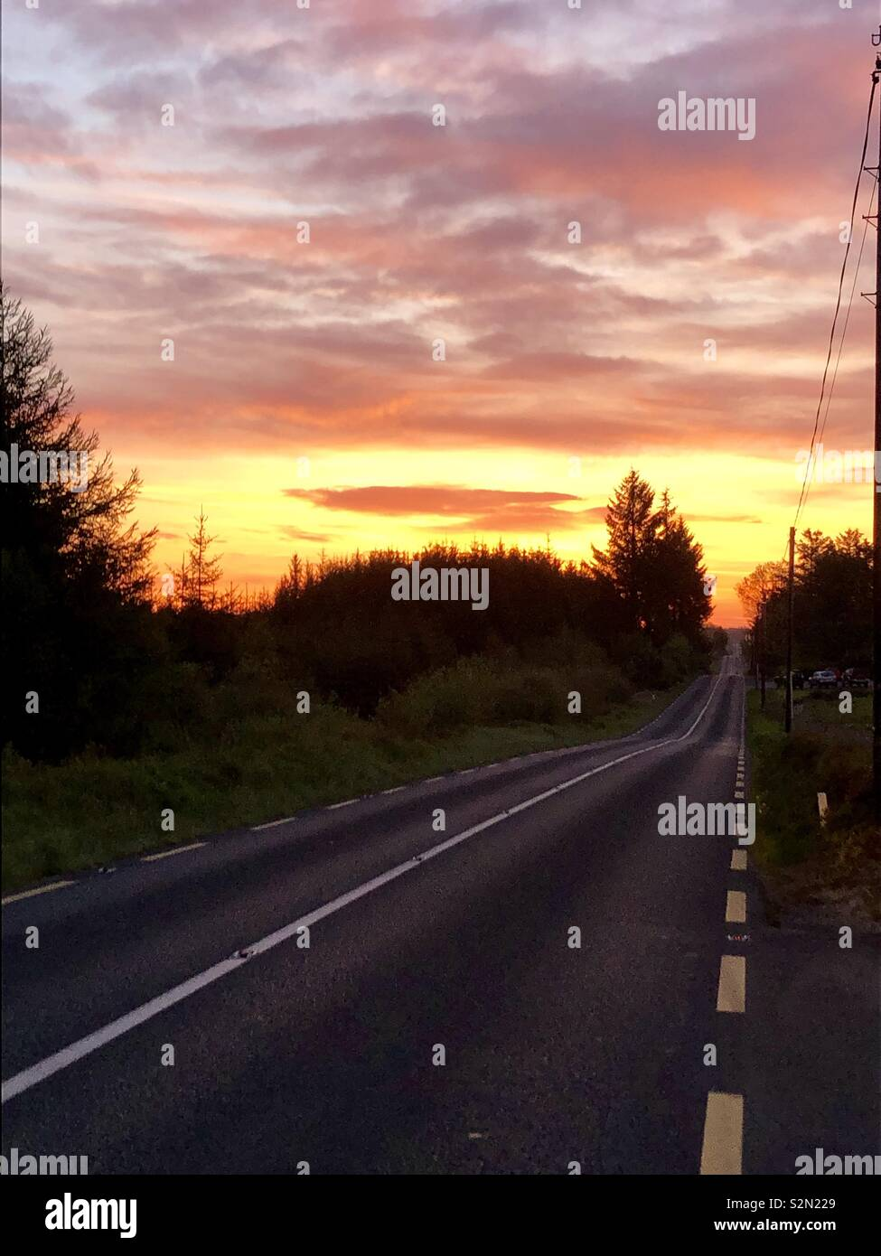 Dawn On The Road, West of Ireland - Stock Image
