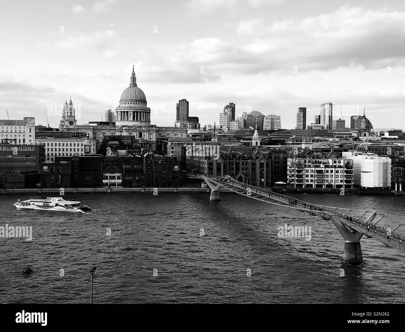 St Paul's and the Thames Black and White - Stock Image