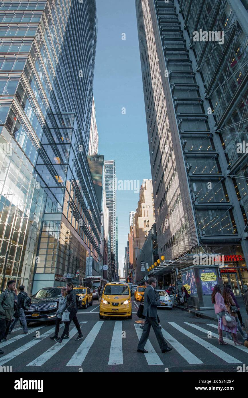 Busy street in New York City - Stock Image