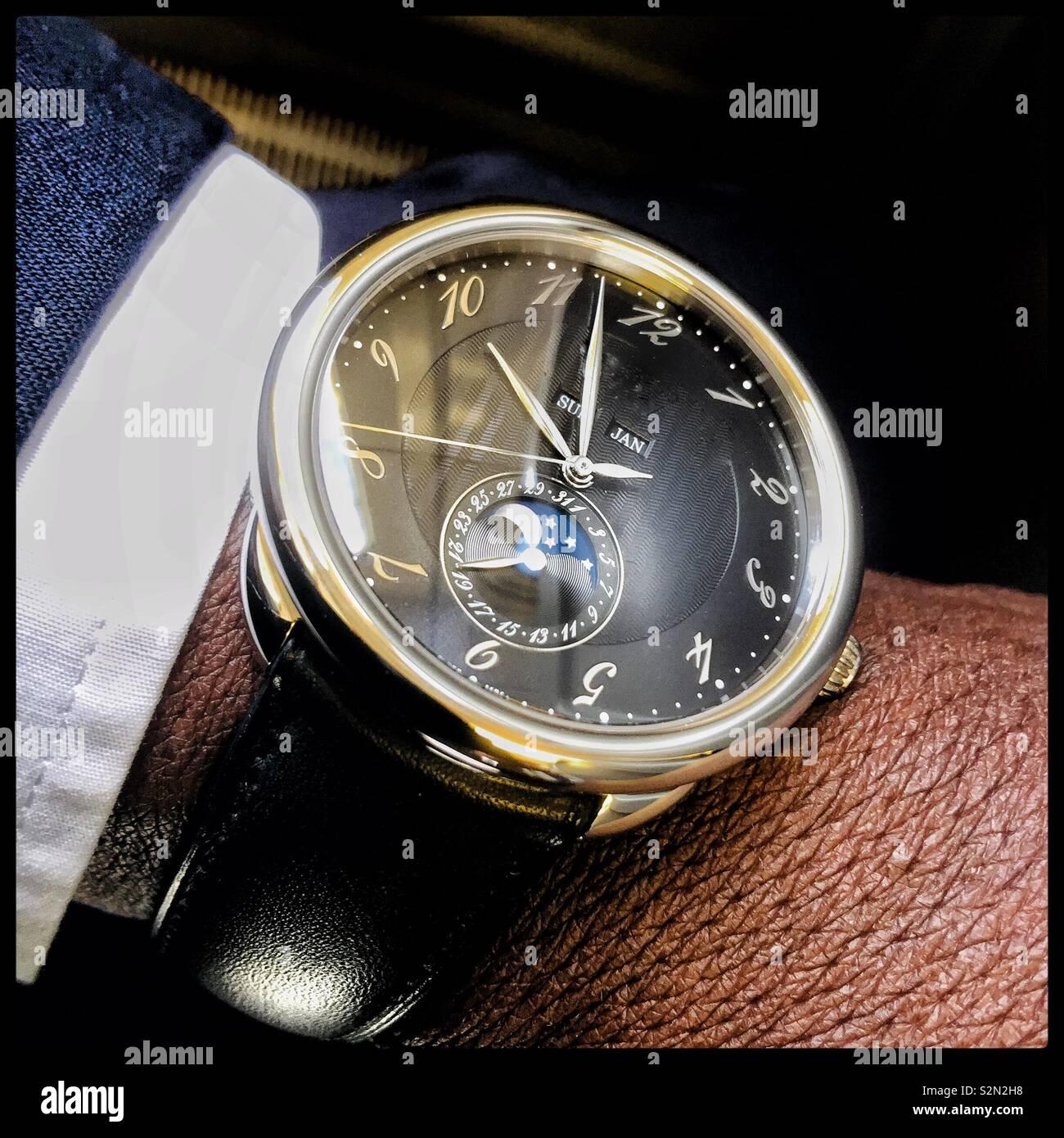 A gentlemen's Swiss watch. - Stock Image