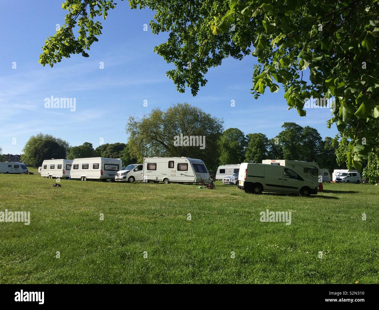 Day 2 of caravan dwellers occupying Eastville Park, Bristol. - Stock Image