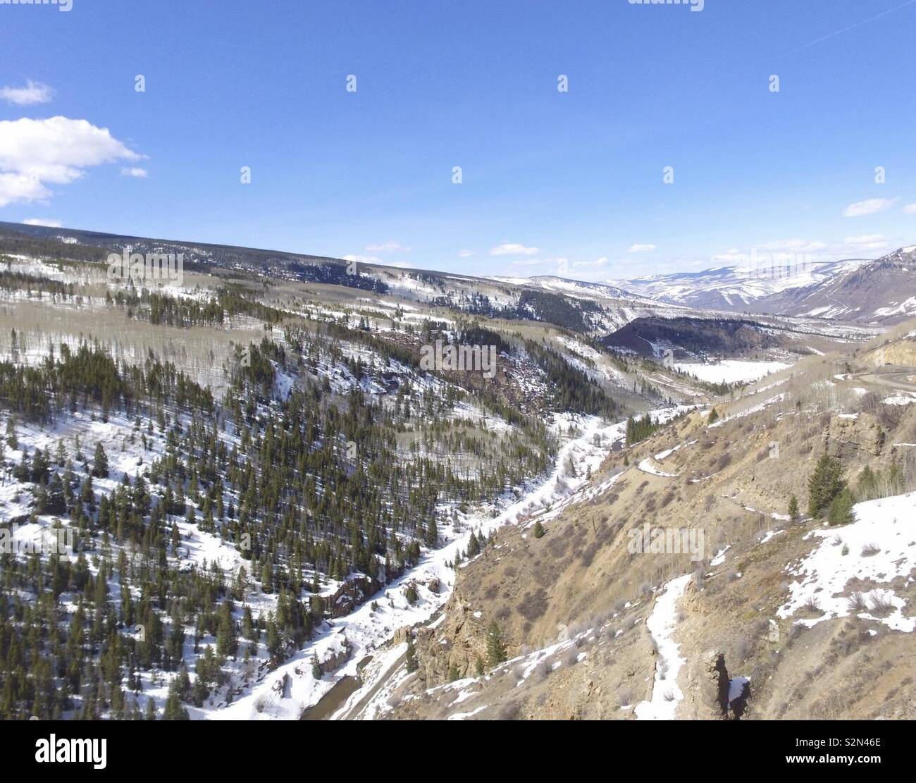 A beautiful drone picture of a valley in the Rocky Mountains. - Stock Image