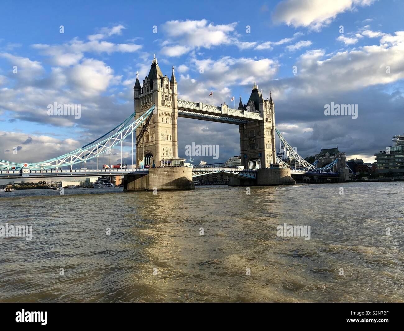 Sun shines on Tower Bridge - Stock Image