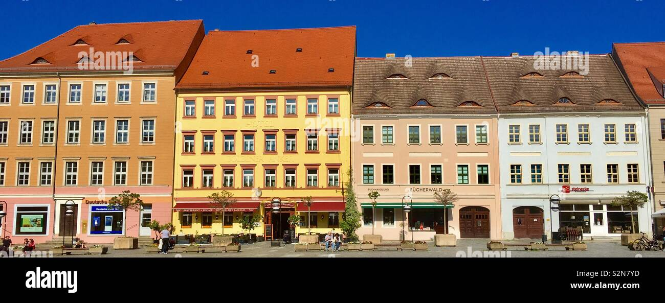 Market square or platz of Torgau a town in Saxony Germany Stock Photo