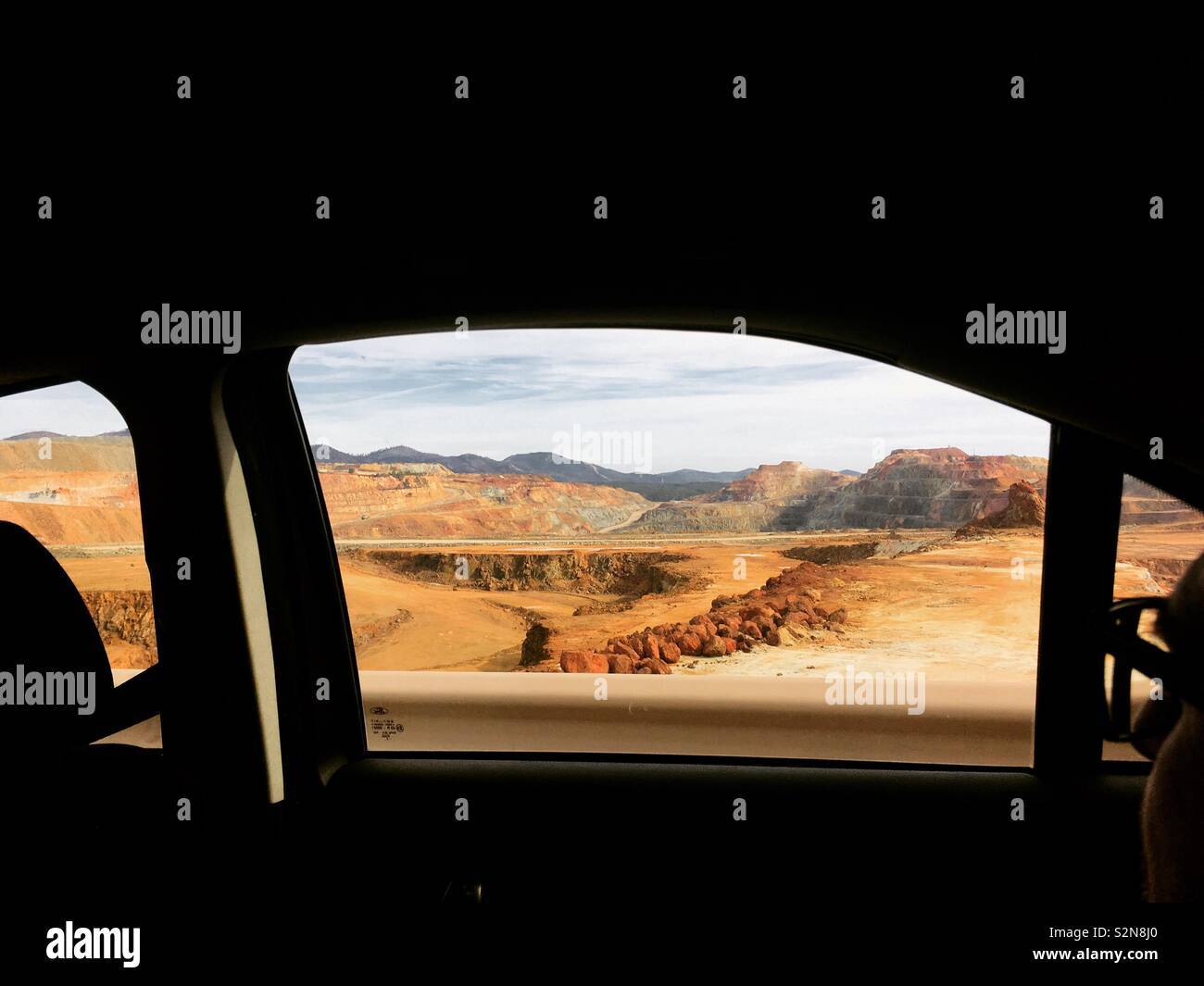 Tello mine shot from inside car - Stock Image