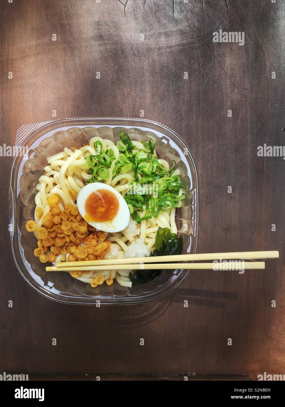 Chilled Udon noodle soup from the Convenience store - a nice refreshing summer lunch in Japan Stock Photo