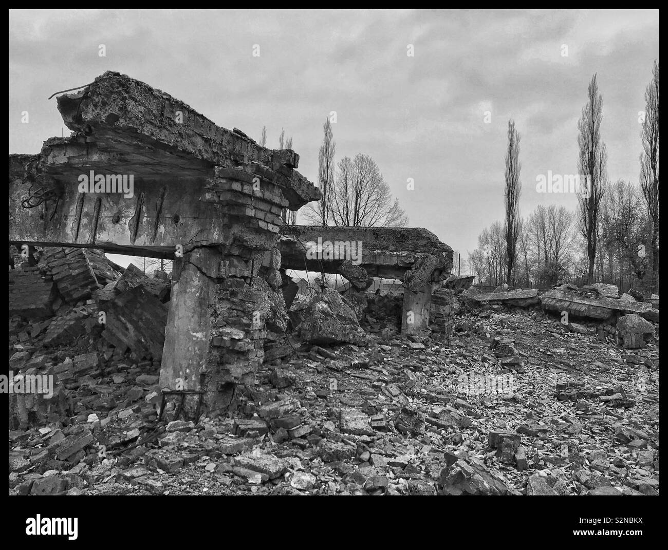 The remains of a gas chamber at the Nazi Auschwitz II-Birkenau Concentration Camp. Shortly before the camp was liberated by Russian Forces in 1945, the Nazis tried to destroy Auschwitz. Now a Memorial Stock Photo