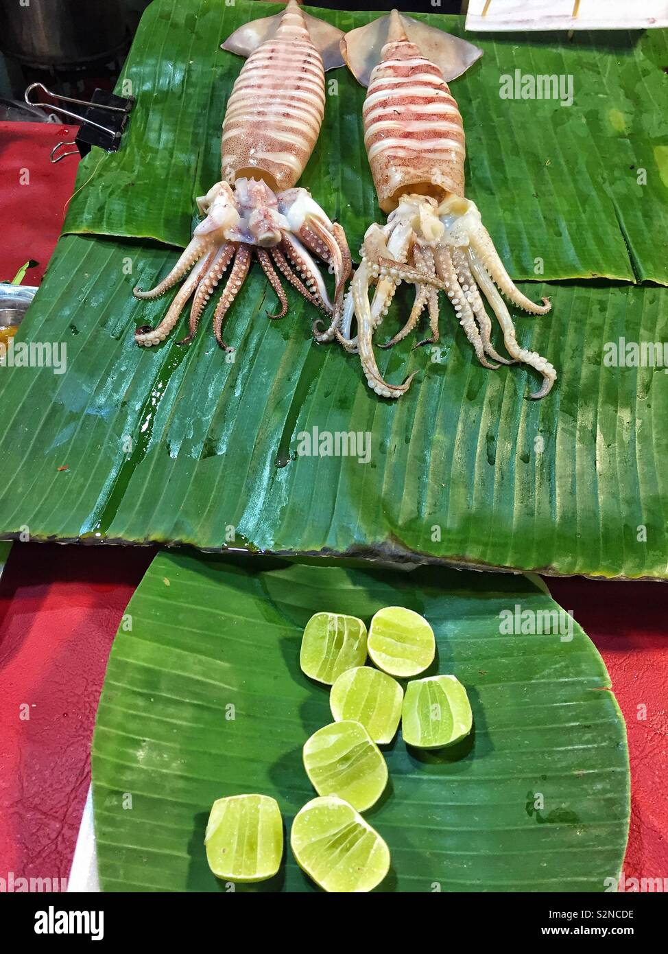 Two raw squids on banana leaf and lime slices - Stock Image