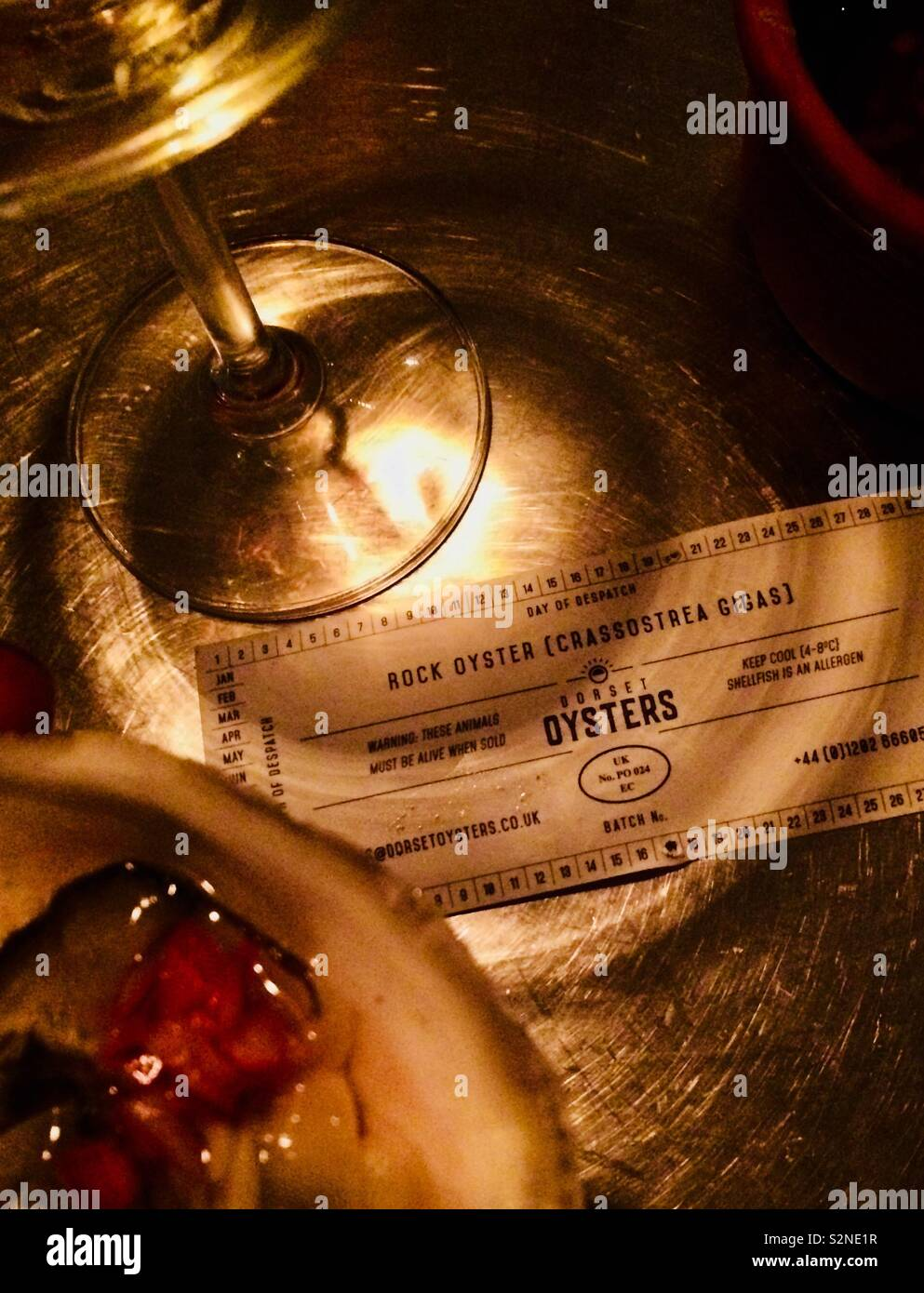 Oysters and champagne with provenance - Stock Image