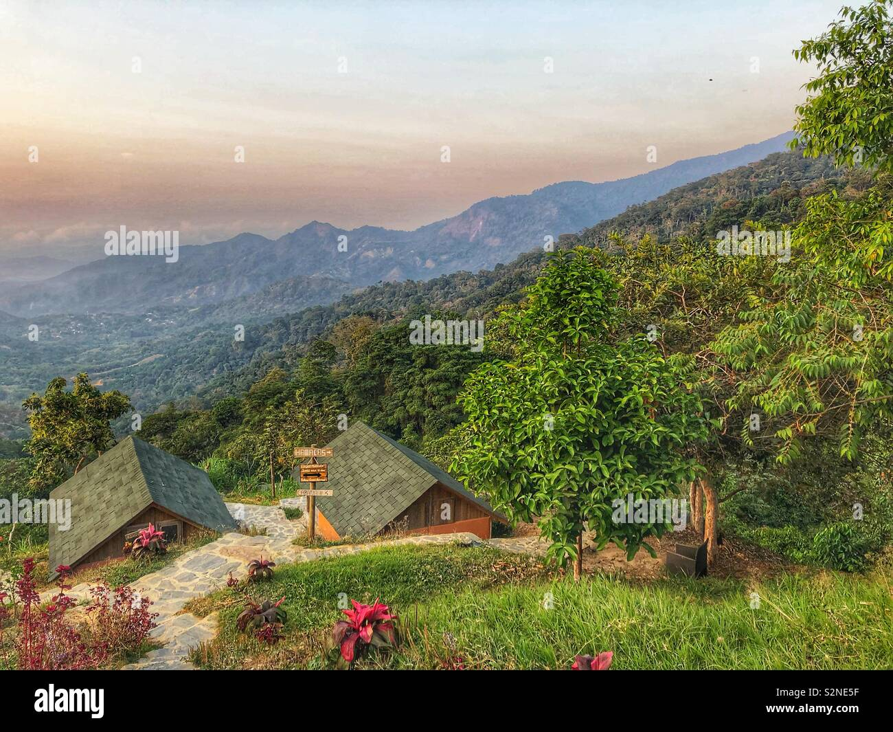 Picturesque Sierra Nevada mountain retreat in Santa Marta, Colombia. - Stock Image